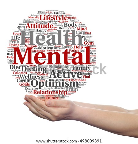 Concept Conceptual Mental Health Or Positive Thinking Abstract Word Cloud Held In Hands Isolated On Background