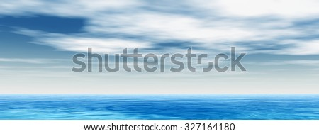 Concept conceptual sea or ocean water waves and sky cloudscape exotic or paradise background banner metaphor to nature, peace, summer, travel, tropical, tourism, environment, vacation holiday #327164180