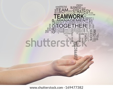 Concept conceptual text word cloud on man hand,tagcloud on rainbow sky  background,metaphor to business,team,teamwork,management,effective,success,communication,company, cooperation,group or symbol