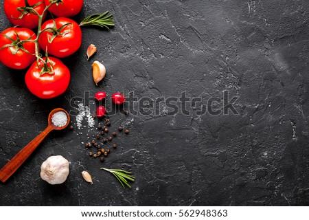 concept cook work on dark background top view mock up