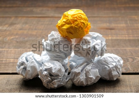 Concept creative idea. concept of creative idea. Balls of crumpled paper. metaphor, inspiration.