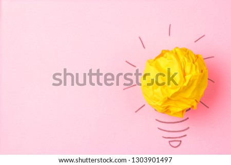 Concept creative idea. concept of creative idea. Crumpled paper balls and painted light bulb on bright background. metaphor, inspiration. #1303901497