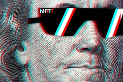 Concept cryptographic nft on a hundred-dollar bill franklin in glasses.