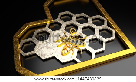 Concept 3D rendering of Jewelry pendant with Manchester Bee logo with diamonds stones, hexagon honeycomb of gold and gold heart around. Isolate on a dark background. Photorealistic renders