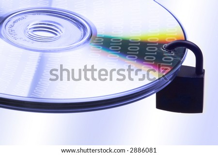 concept data security with binary code on DVD disc