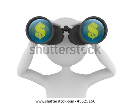 Concept depicting 3D man looking for profit in dollars with the help of binoculars