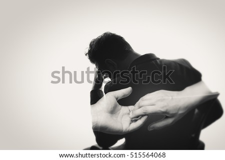 Concept, depicting parting. Black and white image created using multiple exposures. The photo silhouette upset man and a gesture symbolizing the parting. There is space for your text.