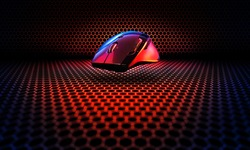 Concept design for esports cyber sports banner : professional game mouse on hexagon pattern background