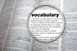 Concept design for the word 'Vocabulary'.