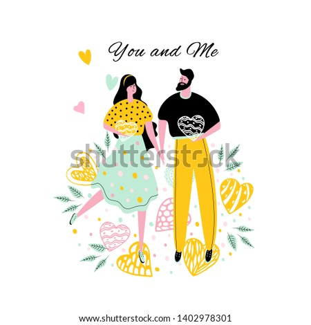 Concept design greeting card with icons of a cute man with a woman. Characters for birthday, wedding, Valentines day. Illustration.