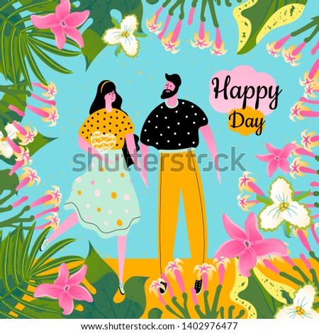 Concept design greeting card with icons of a man with a woman and tropical flowers, leaves. Characters for birthday, wedding, Valentines day. Illustration.