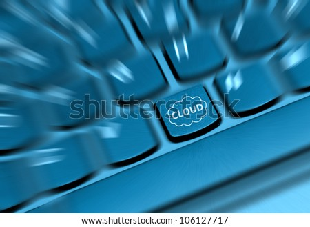 Concept - Detail of Key With Cloud Computing Symbol on Keyboard