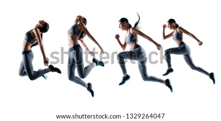 Concept endurance strength persistence sport. Full length full size portrait she her beautiful sporty energetic active purposeful sportswoman running jumping isolated white background #1329264047