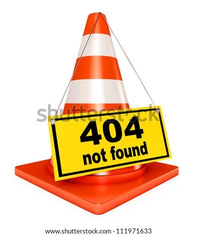 Concept 404 error on white background. Page not found. 3d render