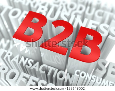 Concept Featuring Business to Business Terms. B2B Word Cloud Concept.