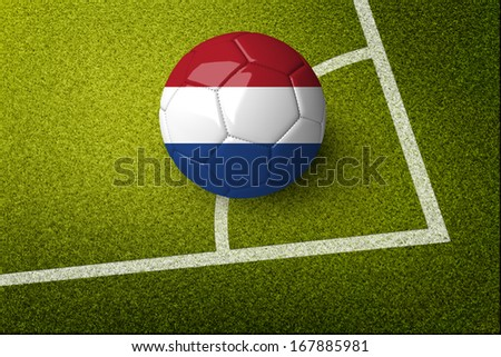 Concept for Brazil 2014 football championship. A soccer ball on green field with Netherlands flag on it. #167885981