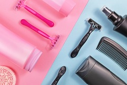 Concept for gender tax and stereotypes for products marketed toward women to be more expensive than those marketed for men with various pink and black hygiene products like shower gel or razors