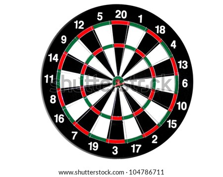 concept for hitting target, dart board with darts.