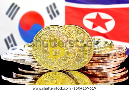 Concept for investors in cryptocurrency and Blockchain technology in the South Korea and North Korea. Bitcoins on the background of the flag South Korea and North Korea. #1504159619