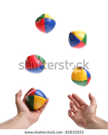 Concept for juggling priorities, 5 balls being thrown by pair of hands over white blurred motion on balls