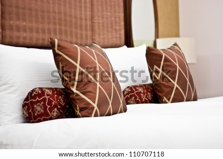 Concept for luxury and Honeymoon, pillows in a luxury hotel