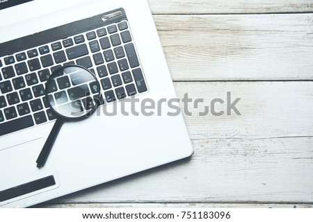 Concept For Searching On Internet, Magnifier On Computer Keyboard