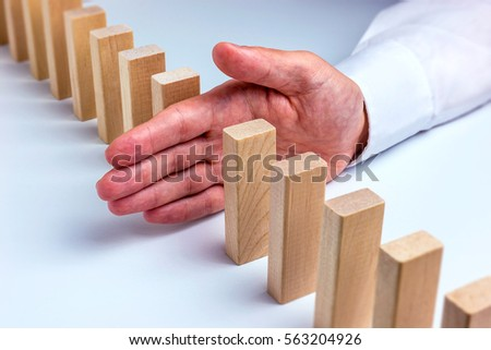 Concept for solution to a problem by stopping the domino effect #563204926