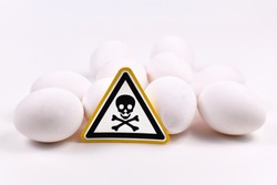 Concept for unhealthy or toxic substances in food like antibiotic residues or salmonella bacteria with skull warning sign on raw eggs on white background
