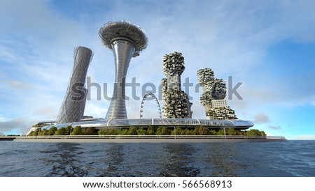 concept future city skyline. Futuristic business vision concept. 3d illustration #566568913