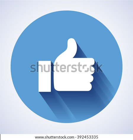 Concept  glossy, stylish social media like hand icon(Symbol). The illustration shows a shiny like sign or icon used in social media websites like. New like icon