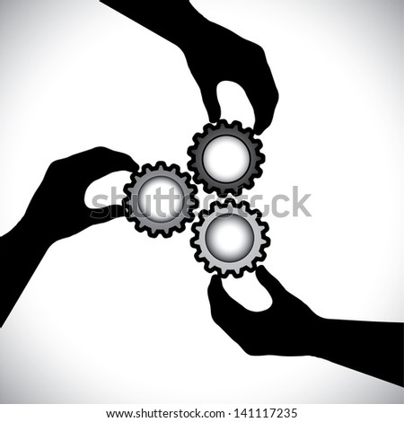 Concept graphic- of teamwork, community unity & integrity. The illustration shows 3 hand silhouettes holding 3 cog wheels & rotating them in sync & balance