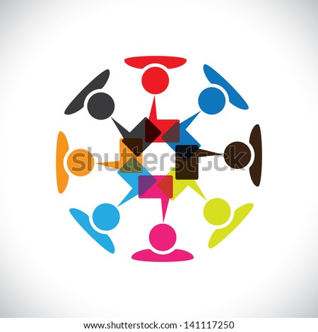 Concept graphic- social media interaction & communication. This illustration can also represent people chatting, teamwork, meeting, employee interactions & discussions, expressing opinions, etc - stock photo