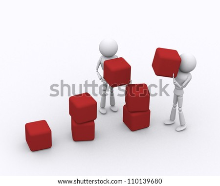 Concept growth of the business. 3D person.