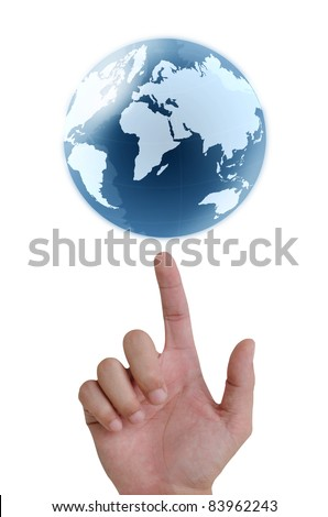 concept hand pointing earth globe.