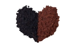 Concept heart shaped pile of soil and coconut dust is natural fertilizer for growing plants isolated on white background included clipping path.