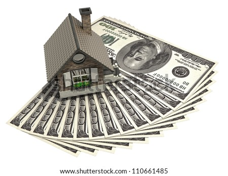 concept house and dollars isolated on white background 3d High resolution