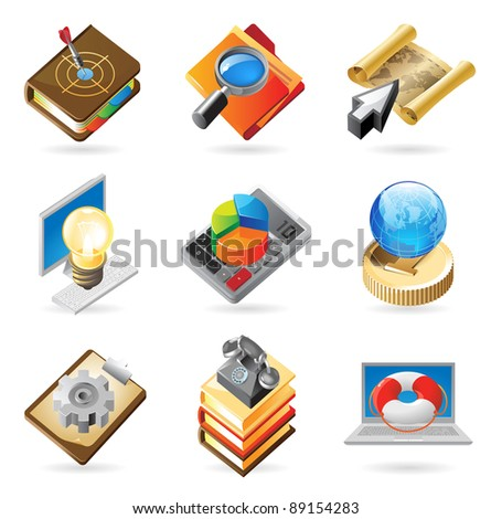 Concept icons for business and industry. Illustrations for document, article or website. Raster version. Vector version is also available.