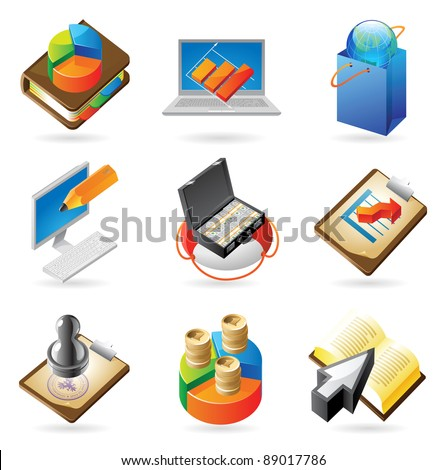 Concept icons for business. Illustrations for document, article or website. Raster version. Vector version is also available.