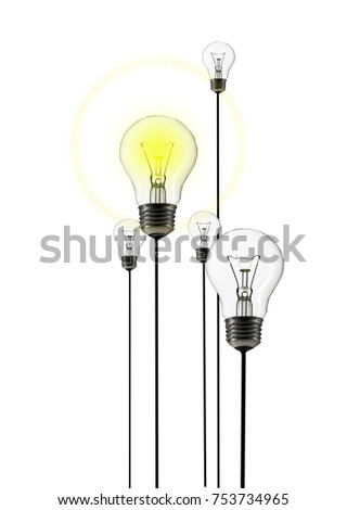 Concept idea. Group of light bulbs one is lit to show the concept of a bright idea or light bulb moment.