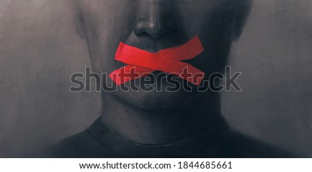 Concept idea of freedom speech freedom of expression and censored, surreal painting, portrait illustration, political art Foto stock ©