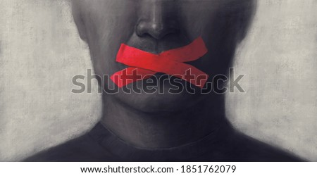 Concept idea of freedom speech freedom of expression and censored, surreal painting, portrait illustration, political art