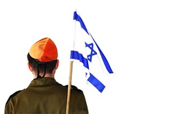 Concept: IDF, patriotism in Israel. Israeli soldier with the flag of Israel behind on a white isolated background
