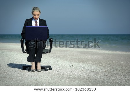 88 Business Concept Man Standing At Desk With Briefcase
