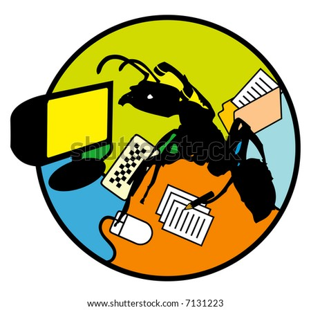 Concept illustration for productivity. A multi-tasking office worker in the form of an ant.