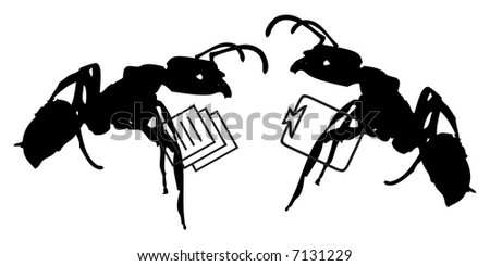 Concept illustration for teamwork, productivity and success. Worker ants working together, office settings.
