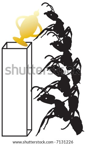 Concept illustration for teamwork, productivity and success. Worker ants working together to reach the prize.