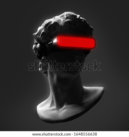 Concept illustration from 3D rendering of classical head sculpture with VR visor headset in red LED lights. Isolated on black background.