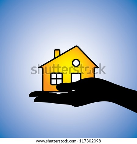 Concept illustration of buying/selling of house/home. This can represent concept of buyer buying/selling a residential property from/to a real estate agent or from/to another owner owning the asset