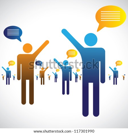 Concept illustration of many people talking, speaking or chatting graphic. The graphic shows many people (symbols) speaking/communicating with one an other (shown as chat icons)