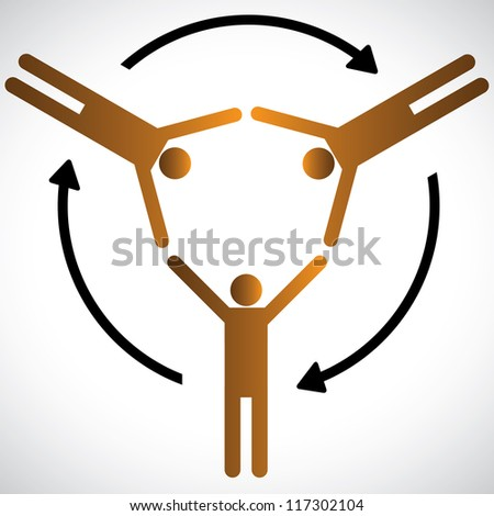 Concept illustration of people networking, community and cooperation. The graphic shows people depending on each other for various needs and represents concepts of community, friendship,support, etc